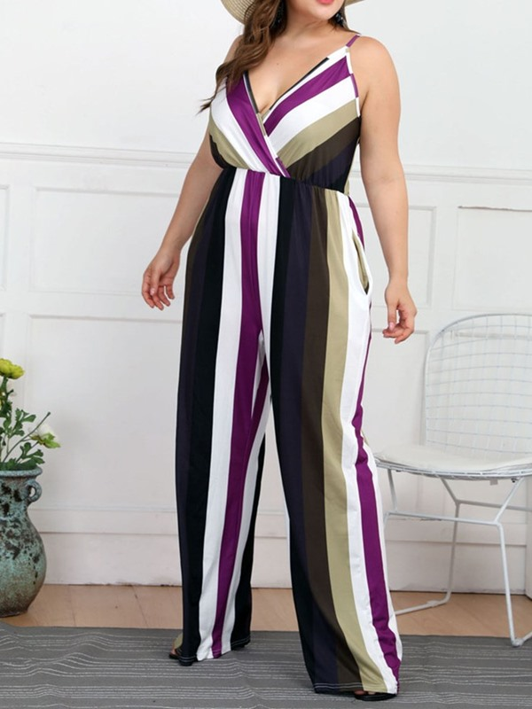 Fashion Print Full Length Straight High Waist Women's Jumpsuit