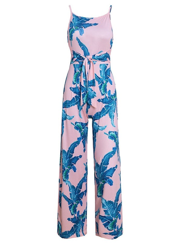 Lace-Up Full Length Casual Straight Loose Women's Jumpsuit