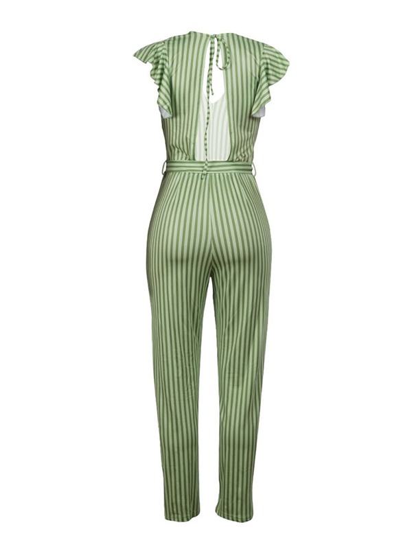 Lace-Up Stripe Party/Cocktail High Waist Straight Women's Jumpsuit