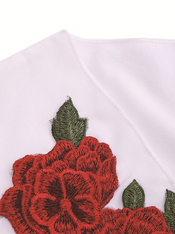 Plus Size Embroidery V-Neck Floral Women's Blouse