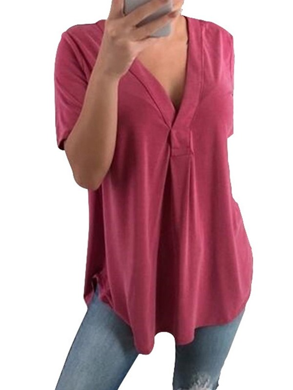 Plus Size V-Neck Plain Pleated Women's Blouse