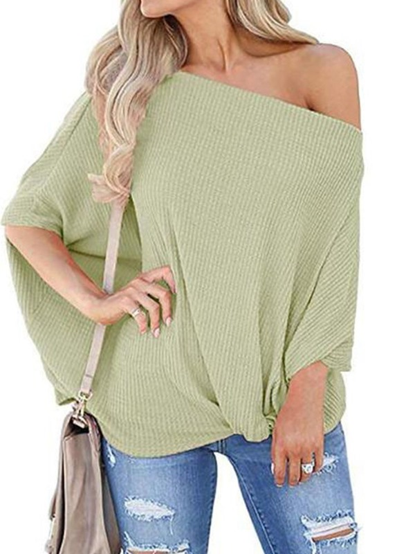 Plain Loose Three-Quarter Sleeve Women's Knitwear