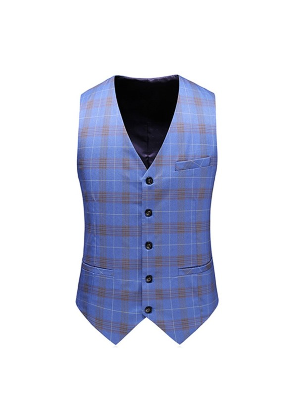 Plaid Blazer Vest Pants Double-Breasted Men's Dress Suit
