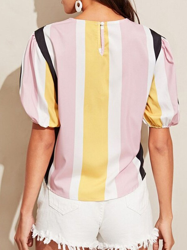 Color Block Patchwork Stripe Women's Blouse