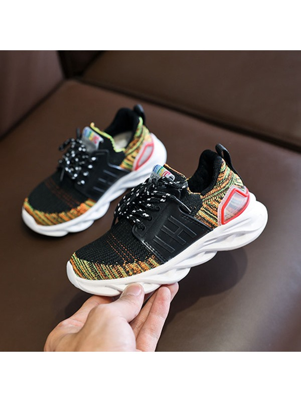 Korean Lace-Up Color Block Kid's Sneakers