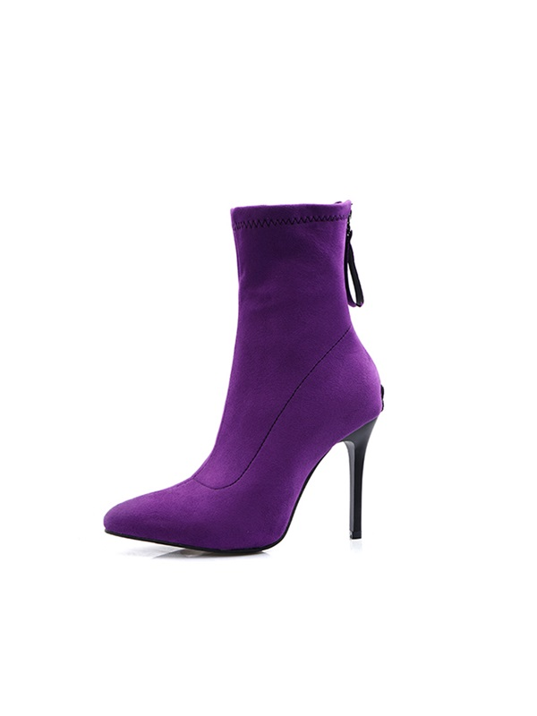 Pointed Toe Chunky Heel Back Zip Casual Ankle Boots
