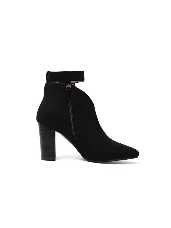 Chunky Heel Pointed Toe Buckle Short Floss Ankle Boots