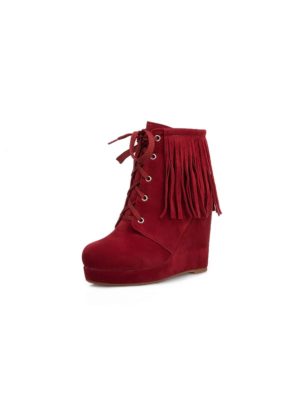 Lace-Up Front Plain Round Toe Wedge Ankle Boots