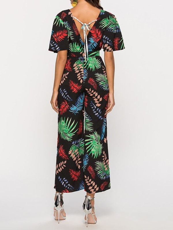 Plant Print Casual Wide Legs High Waist Women's Jumpsuit