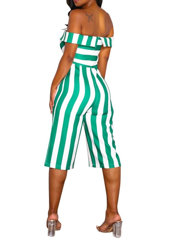 Stripe Mid-Calf Casual Straight Loose Women's Jumpsuit