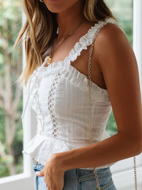 Summer Plain Lace-Up Pleated Short Women's Tank Top