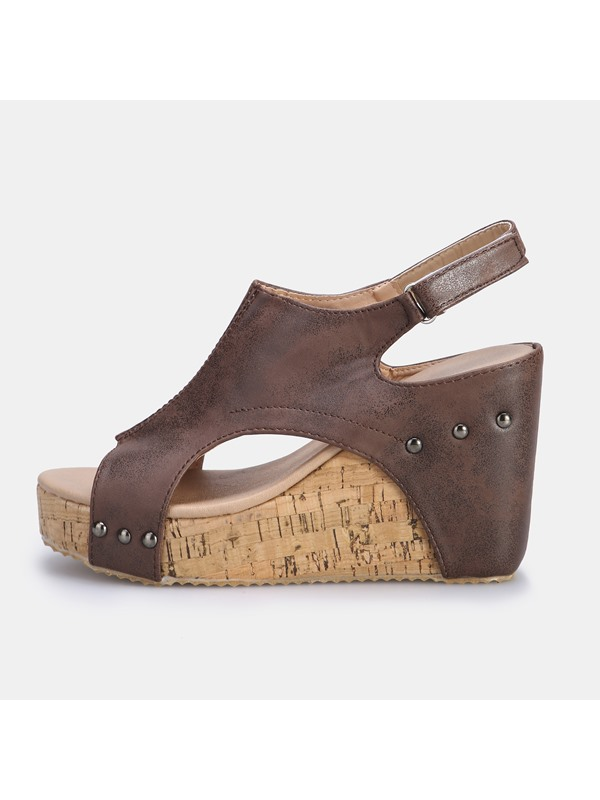 Peep Toe Buckle Vintage Women's Sandals