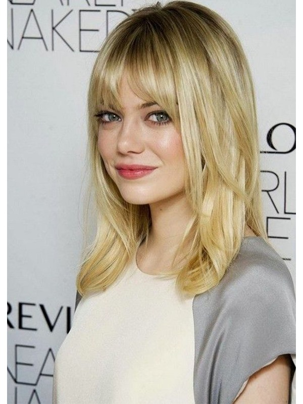 Lovely Medium Length EMMA STONE Hairstyles Women's Straight Synthetic Hair Wigs Capless Wigs 20inch