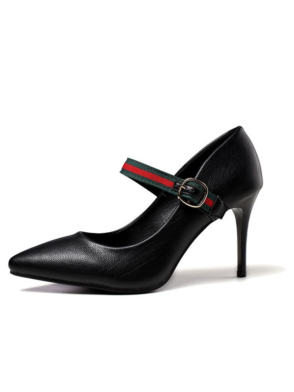 Buckle Pointed Toe Stiletto Heel Mary Jane Pumps