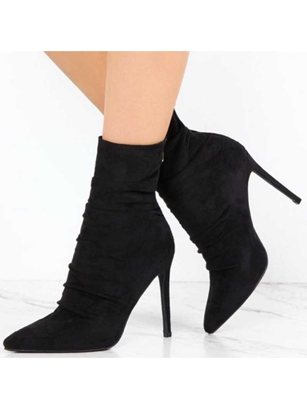 Suede Back Zip Pointed Toe Vintage Ankle Boots
