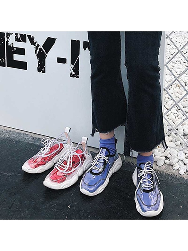 Cross Strap Round Toe See Through Women's Sneakers