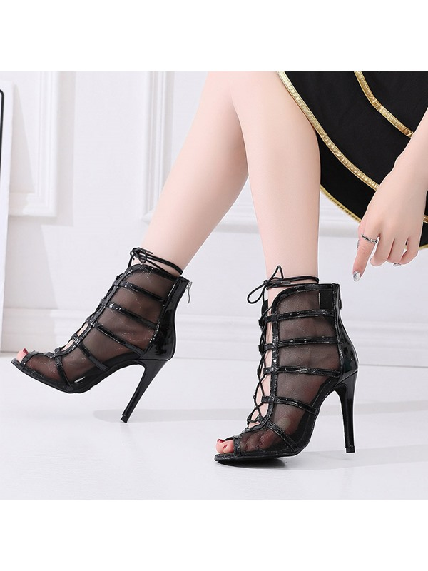 Stiletto Heel Zipper Hollow Sexy Ankle Boots