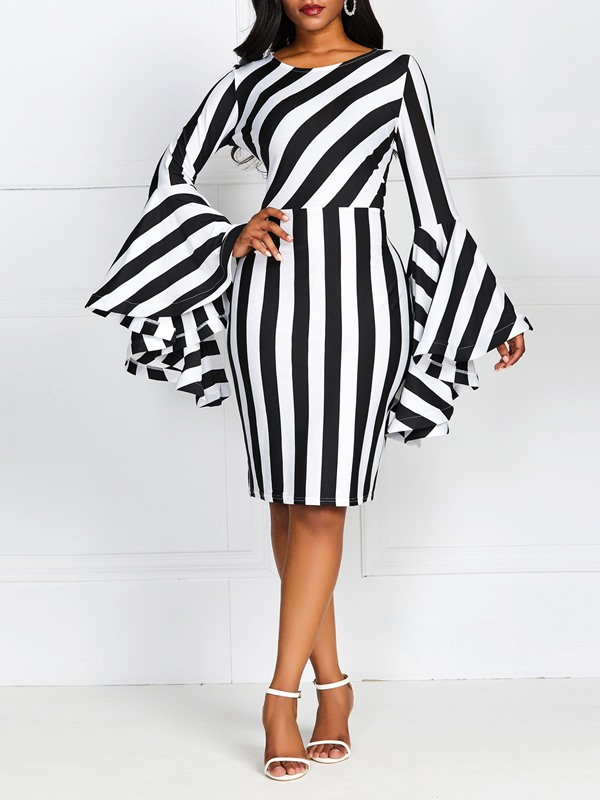Above Knee Long Sleeve Stripe Women's Bodycon Dress