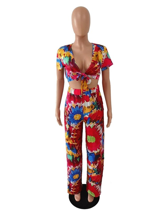Print Casual V-Neck Straight Women's Two Piece Sets