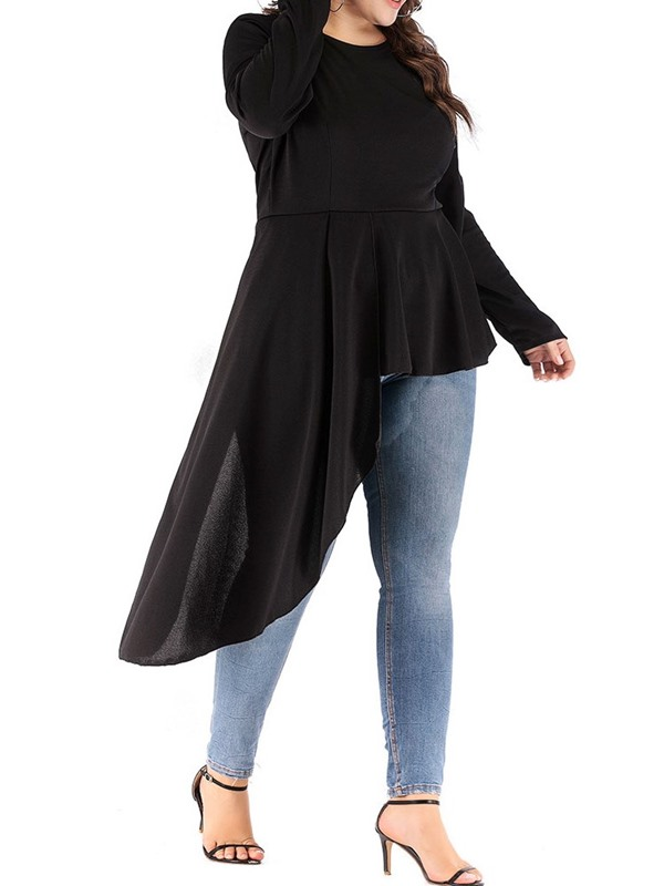 Plus Size Asymmetric Pleated Round Neck Plain Women's T-Shirt
