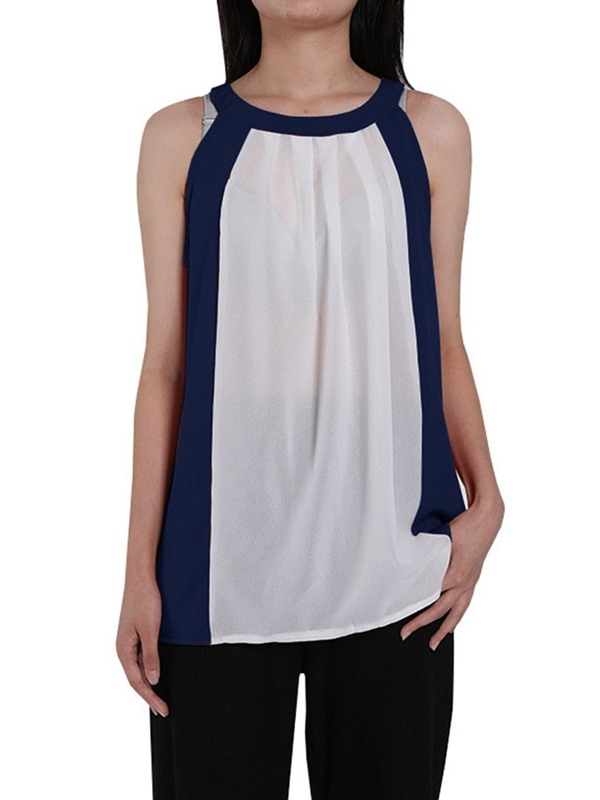 Plus Size Color Block Pleated Mid-Length Women's Tank Top