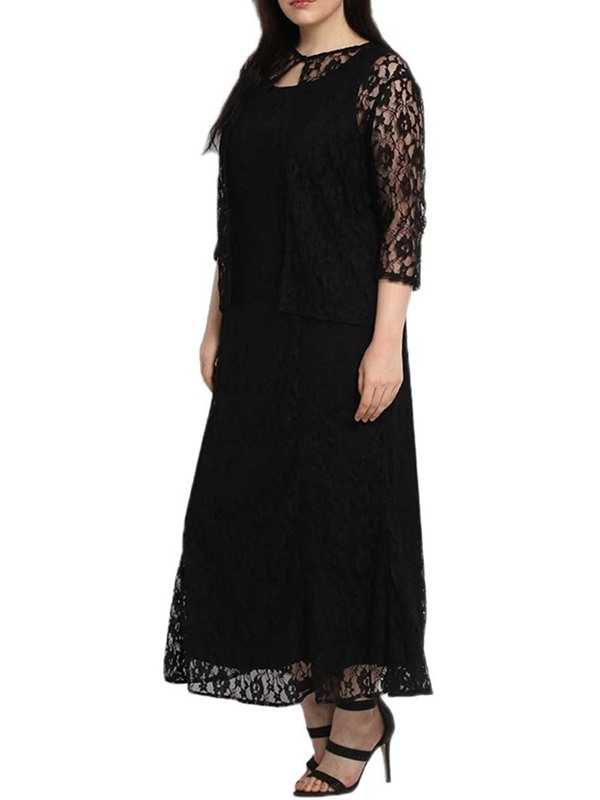 Plus Size Sleeveless Round Neck Plain A-Line Women's Lace Dress