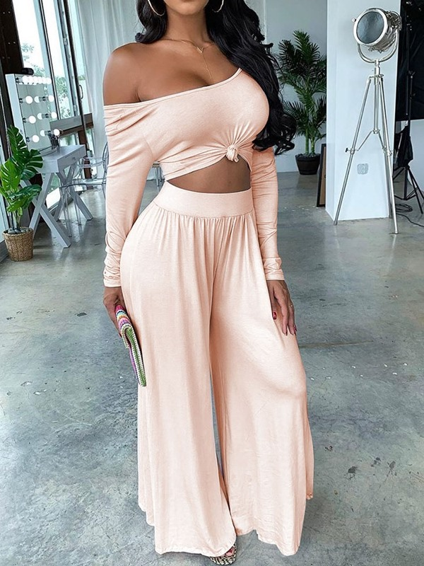 Plain Backless T-Shirt Wide Legs Pullover Women's Two Piece Sets