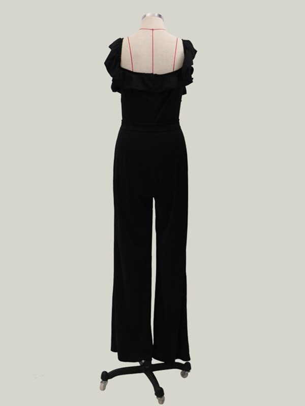 Full Length Party/Cocktail Falbala Loose High Waist Women's Jumpsuit