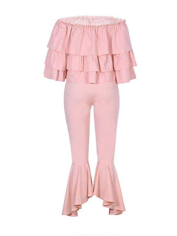 Ankle Length Pants Plain Falbala Pullover Bellbottoms Women's Two Piece Sets