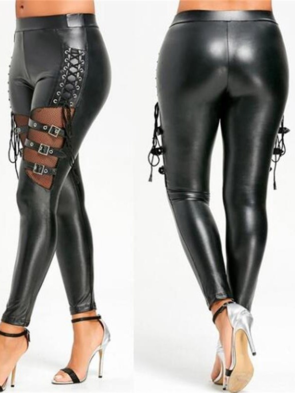 Women's Metal Button Lace-Up Patent Leather Sexy Leggings