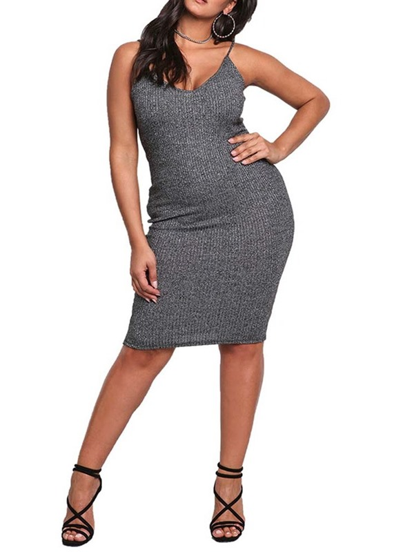 Plus Size Backless Sleeveless Knee-Length Women's Bodycon Dress