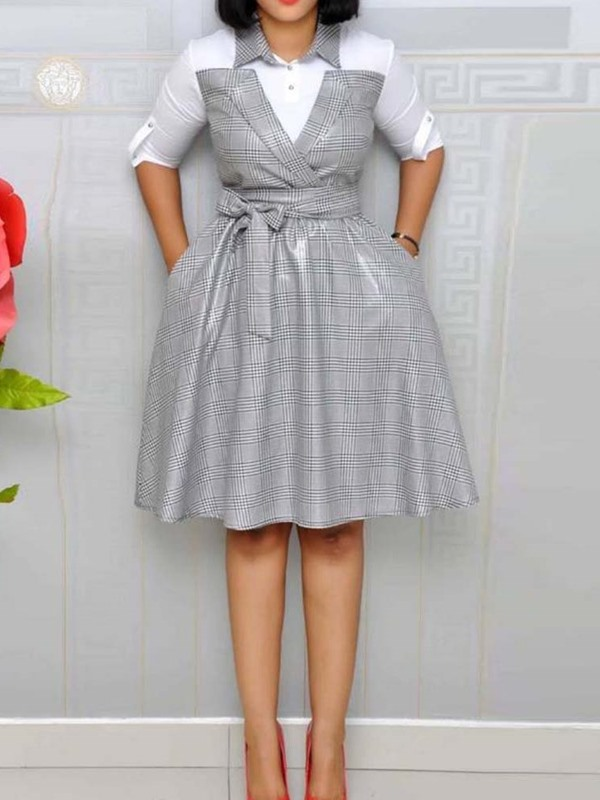 Plus Size Lapel Pocket Knee-Length Women's Skater Dress