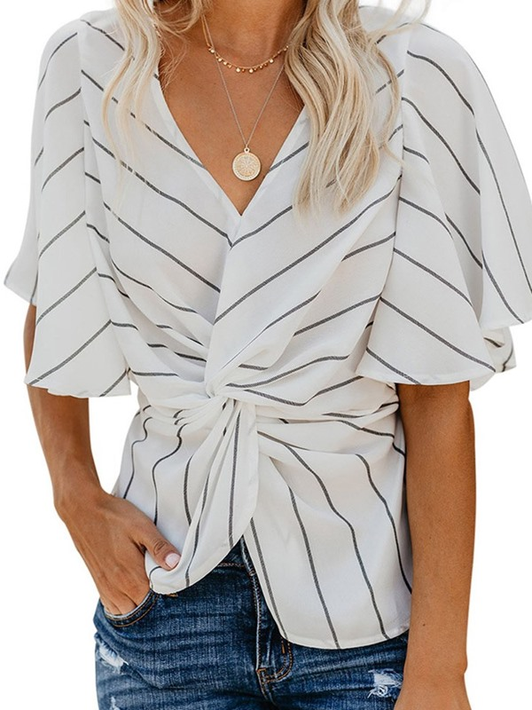 Stripe Pleated V-Neck Half Sleeve Women's Blouse