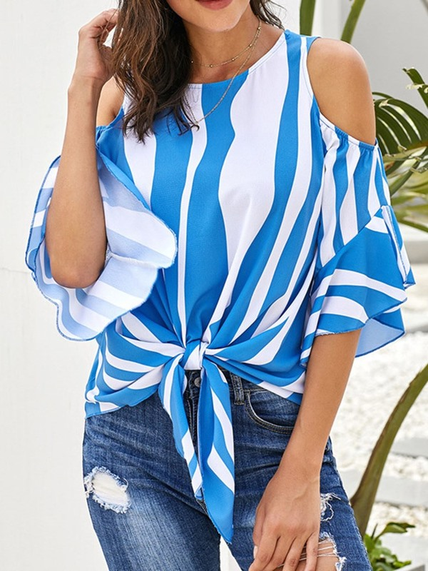 Color Block Stripe Hole Loose Women's Blouse