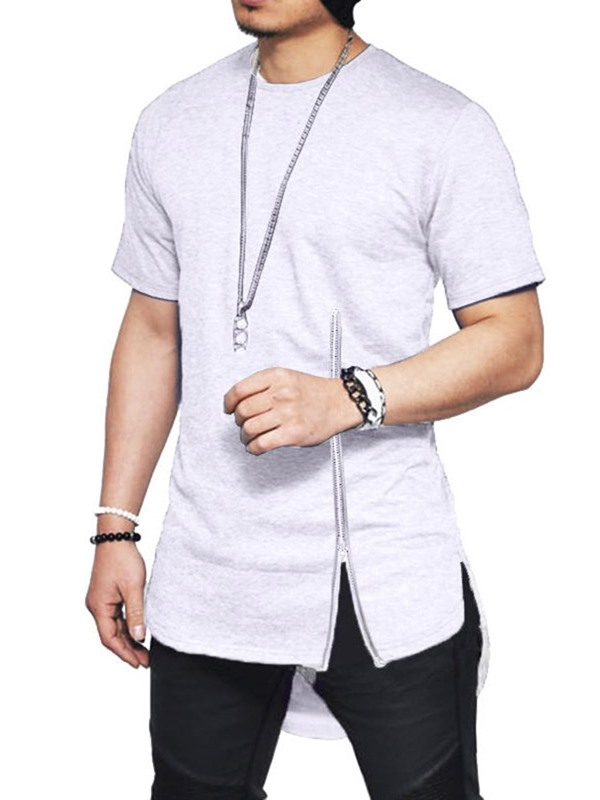 Round Neck Fashion Plain Asymmetric Zipper Men's T-Shirt