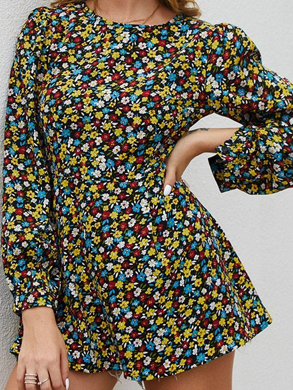 Round Neck Floral Print Mid-Length Long Sleeve Women's Blouse