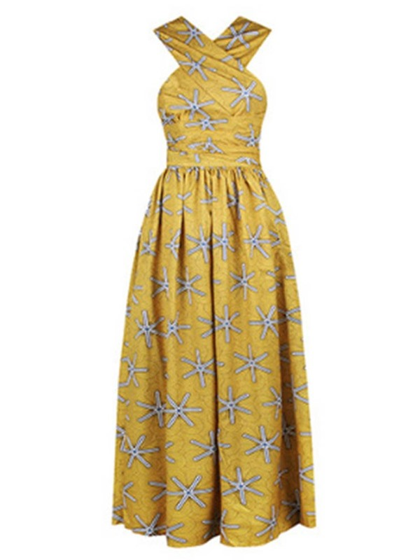 Floor-Length Sleeveless Print A-Line Pullover Women's Maxi Dress