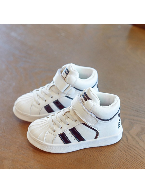 Fall Simple Lace-Up High Top Kid's Sneakers
