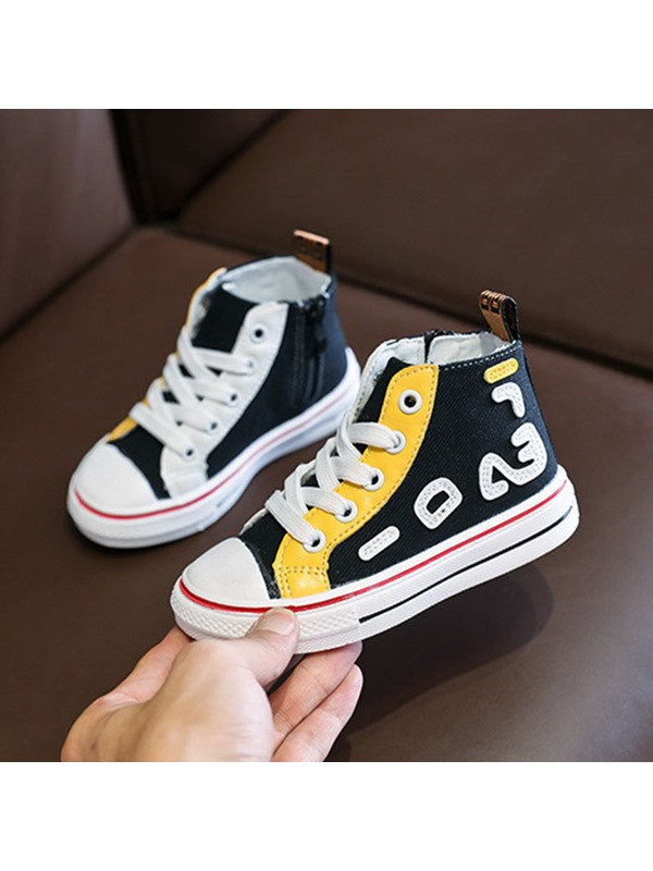 Lace Up High Top Letter Print Kid's Sneakers