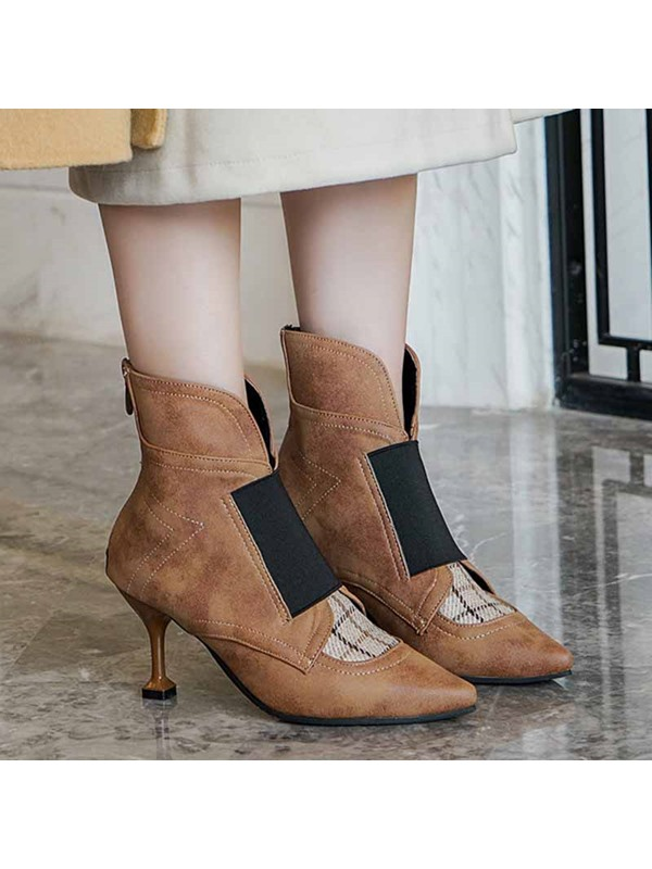 Stiletto Heel Pointed Toe Color Block Casual Ankle Boots