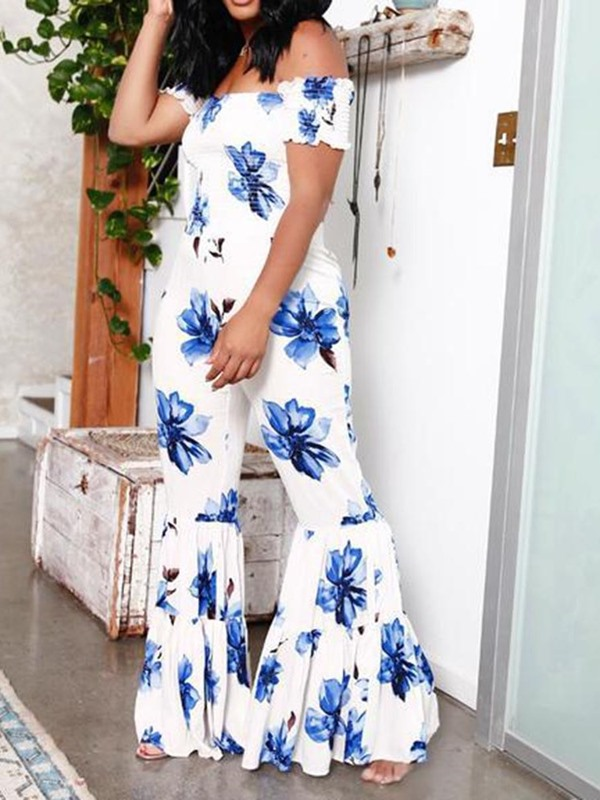 Print Fashion Floral Loose Bellbottoms Women's Jumpsuit