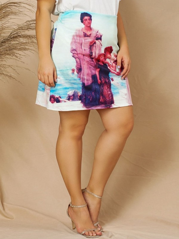 Print A-Line Mini Skirt Plus Size Women's Skirt