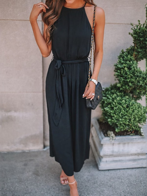Western Plain Ankle Length Loose Women's Jumpsuit