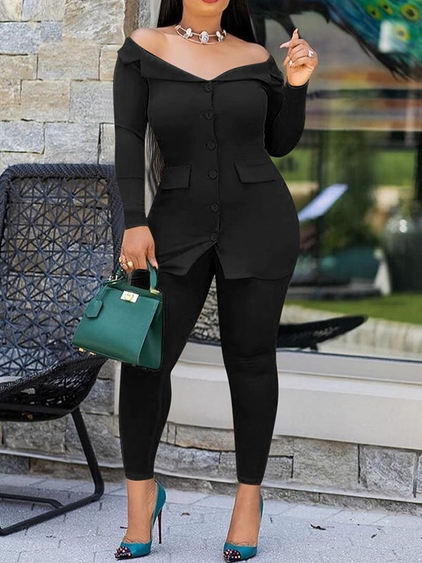 Button Plain Single-Breasted Women's Two Piece Sets