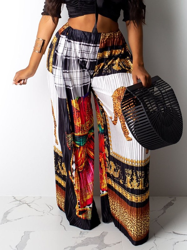 Print African Fashion Loose Plaid Wide Legs Full Length Women's Casual Pants