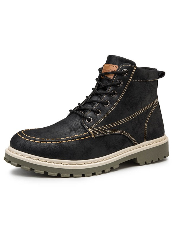 Color Block Lace-Up Front Round Toe Men's Ankle Boots