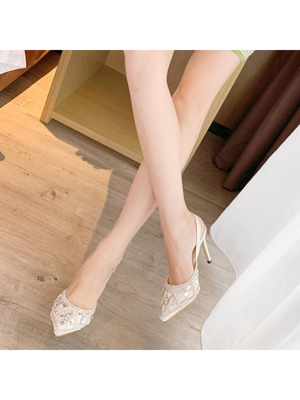 Pointed Toe Slingback Strap Stiletto Heel Prom Sandals