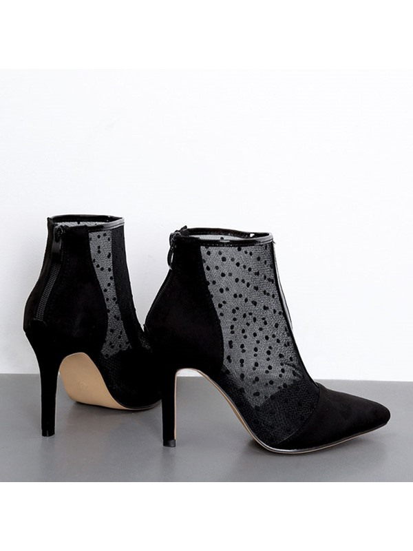 Back Zip Stiletto Heel Polka Dot Zipper Ankle Boots