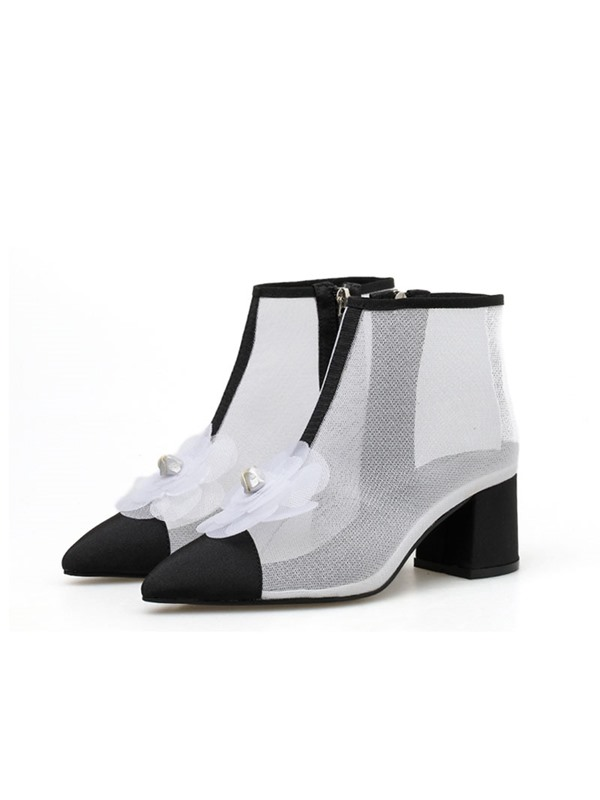 Color Block Side Zipper Pointed Toe Appliques Ankle Boots