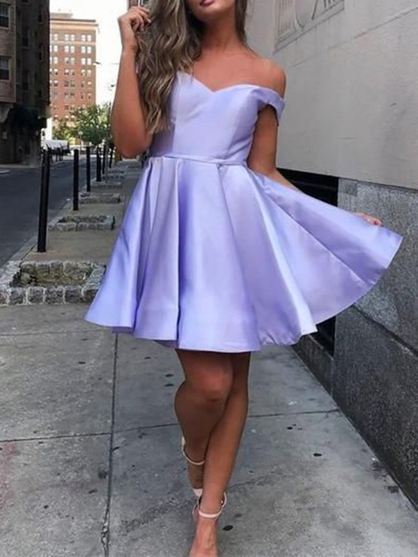 Off-The-Shoulder Short Sleeveless A-Line Homecoming Dress 2019